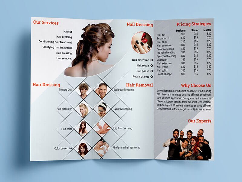 beauty saloon tri-fold brochure